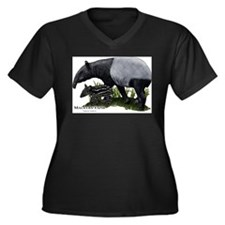 Malayan Tapir and Young Women's Plus Size V-Neck D