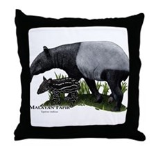 Malayan Tapir and Young Throw Pillow