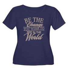 Be The Change Women's Plus Size Scoop Neck Dark T-