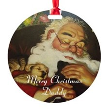 Merry Christmas Daddy Round Ornament