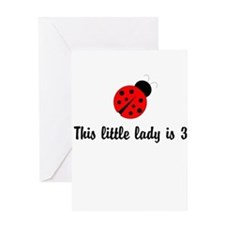 Third Birthday Ladybug Greeting Card