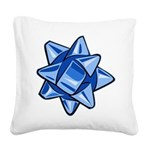 Dark Blue Bow Square Canvas Pillow