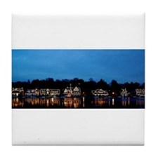 Boathouse Row, Nighttime Panoramic Tile Coaster