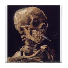 Skull_with_a_Burning_Cigarette.jpg Tile Coaster