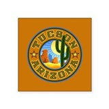 "Tucson Desert Circle Square Sticker 3"" x 3"""