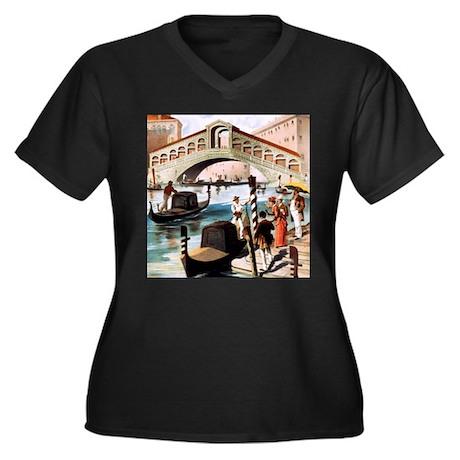 Vintage Venice Women's Plus Size V-Neck Dark T-Shi