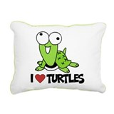 I Love Turtles Rectangular Canvas Pillow
