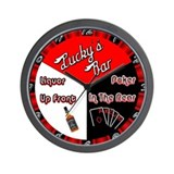 Lucky's Liquor/Poker Clock Wall Clock