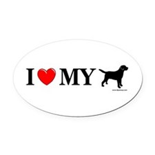 Love My Lab Silhouette Oval Car Magnet