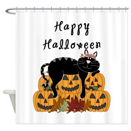 Halloween Black Cat And Pumpkins Shower Curtain By