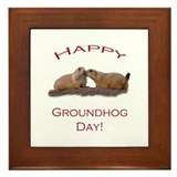 Groundhog Day Kiss Framed Tile