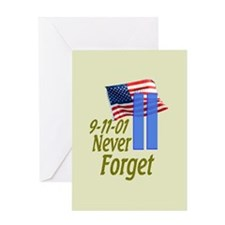 Never Forget 9-11 - With Buildings Greeting Card
