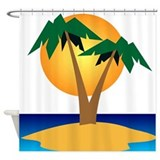 Palm Tree Island Shower Curtain