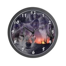 Desert Wolves Wall Clock
