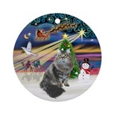 XmasMagic-Siberian Cat Ornament (Round)