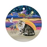 XmasAngel-Exotic Short Hair Cat 1 Ornament (Round)