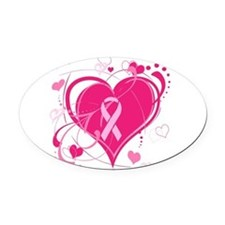 Run With Heart Pink hearts Oval Car Magnet