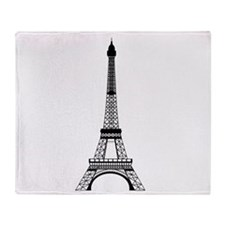 Eiffel Tower Black Throw Blanket