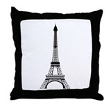 Eiffel Tower Black Throw Pillow