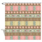 Country Hearts Pattern Shower Curtain