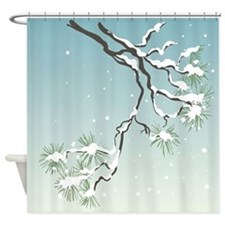 Snowy Japanese Pine Shower Curtain