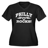 Philly Rocks Women's Plus Size V-Neck Dark T-Shirt