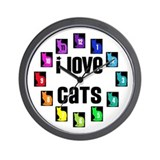 I LOVE CATS - Wall Clock
