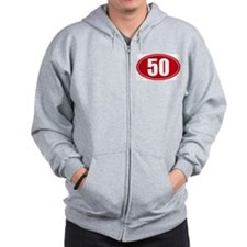 50 miles red oval sticker decal Zip Hoody