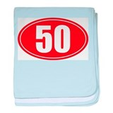 50 miles red oval sticker decal baby blanket
