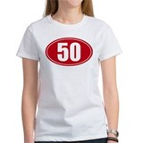 50 miles red oval sticker decal Tee