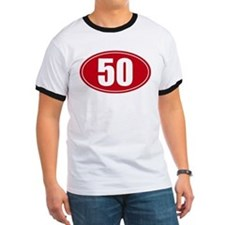 50 miles red oval sticker decal T