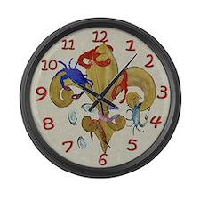 Cajun Fleur de lis Large Wall Clock