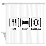 Eat Sleep Baseball Shower Curtain