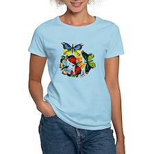 Flock Of Butterflies Women's Pink T-Shirt