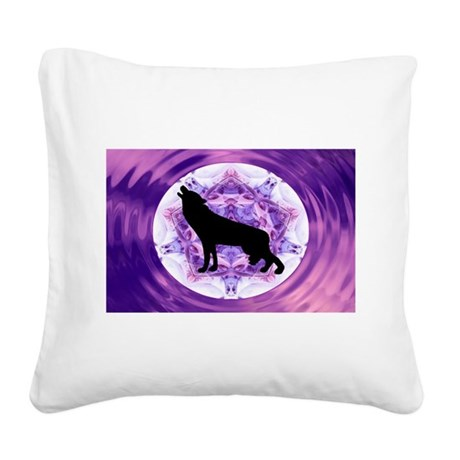 Howling Wolf Square Canvas Pillow