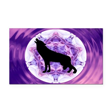 Howling Wolf Rectangle Car Magnet