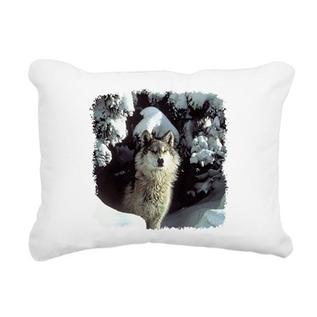 gray wolf Rectangular Canvas Pillow
