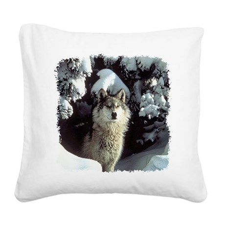 gray wolf Square Canvas Pillow