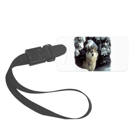 gray wolf Small Luggage Tag