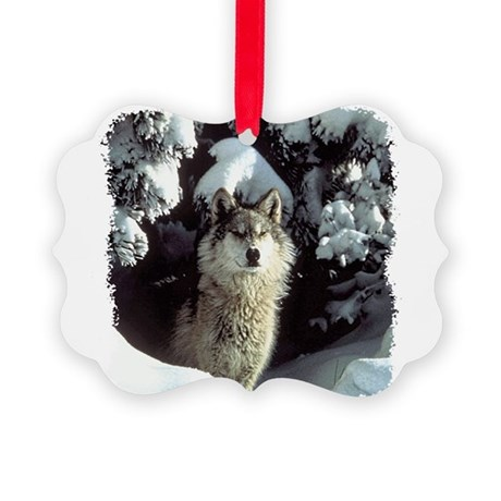 gray wolf Picture Ornament
