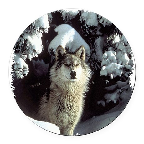 gray wolf Round Car Magnet