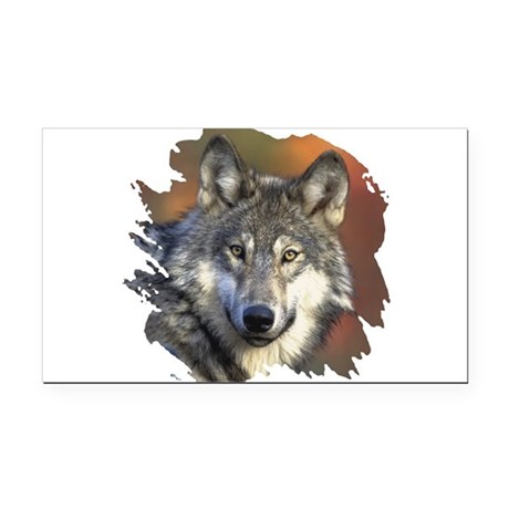 wolf Rectangle Car Magnet