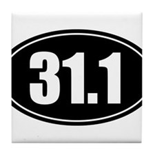 31.1 50k oval black sticker decal Tile Coaster