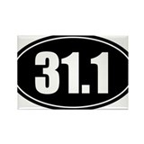 31.1 50k oval black sticker decal Rectangle Magnet
