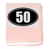 50 mile black oval sticker decal baby blanket