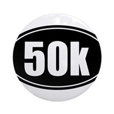 50k 31.1 black oval sticker decal Ornament (Round)