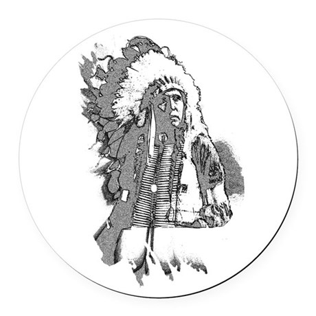 indian1f2.png Round Car Magnet