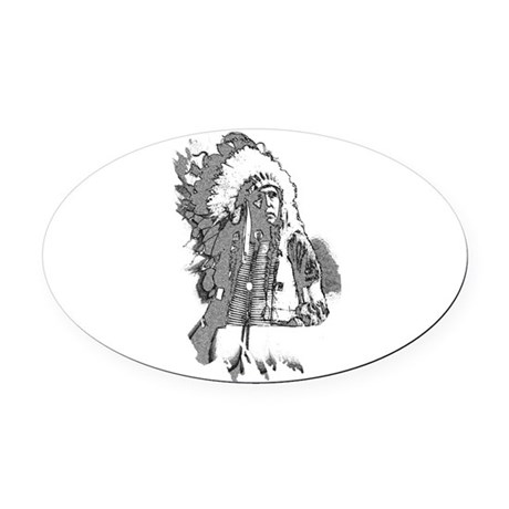 indian1f2.png Oval Car Magnet