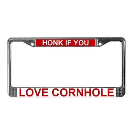 Cornhole Sayings License Plate Frame by cornholedesigns
