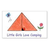 Rectangle Sticker - Little Girls Love Camping